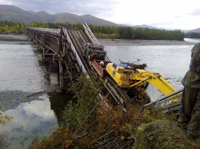ВЯкутии снова обвалился автодорожный мост